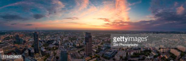 drone sunset photo of warsaw cityscape - poland stock pictures, royalty-free photos & images