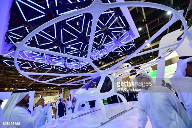 A drone taxi is seen on view at the Gitex 2017 exhibition at the Dubai World Trade Center in Dubai on October 8 2017 / AFP PHOTO / GIUSEPPE CACACE