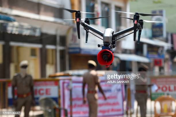 Drone used by police to monitor activities of people and spread awareness announcements is seen during a government-imposed nationwide lockdown as a...