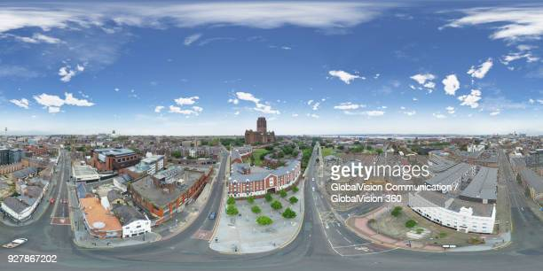 Drone View above Chinatown in Liverpool, United Kingdom