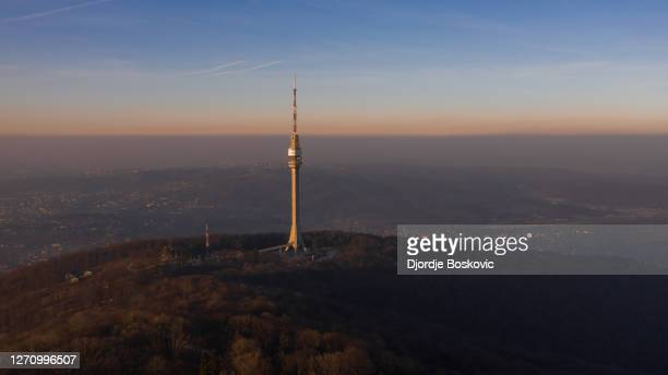 drone view at tower avala during massive polution - belgrade serbia stock pictures, royalty-free photos & images