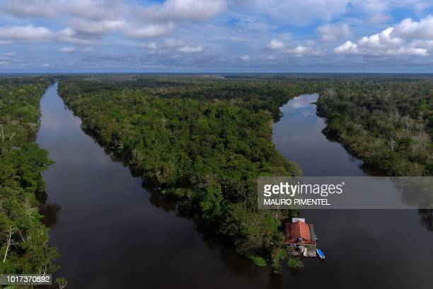 Drone view from the float where the scientists stay during their research on river dolphins at Mamiraua Sustainable Development Reserve in Amazonas...
