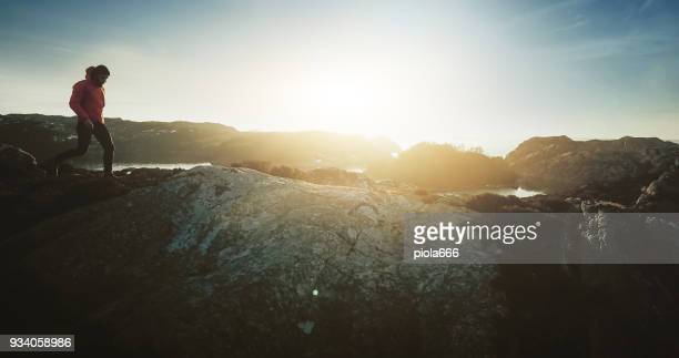 drone view: man mountain hiking by a fjord in norway - traditionally norwegian stock pictures, royalty-free photos & images