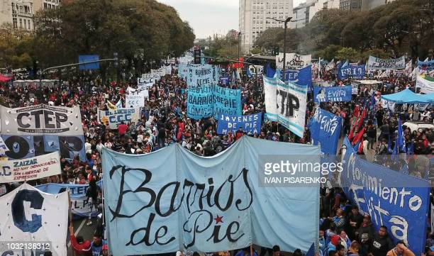 Drone view of 9 de Julio avenue in Buenos Aires where social organizations gathered to protest against the government of Argentine President Mauricio...