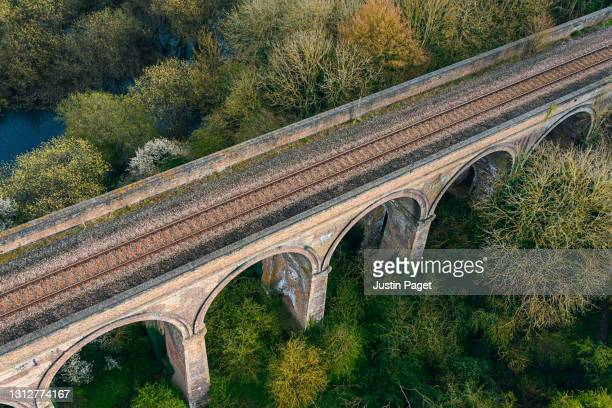drone view of a railway viaduct - drone point of view stock pictures, royalty-free photos & images