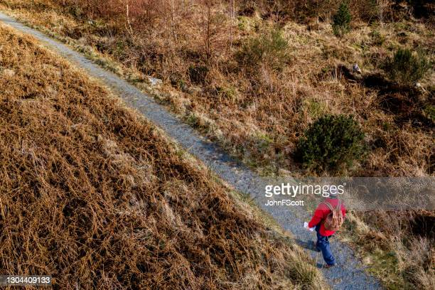 drone view of a senior man walking on a footpath - johnfscott stock pictures, royalty-free photos & images