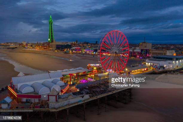 Drone view of Blackpool Tower and Central Pier on October 06, 2020 in Blackpool, England. This year to help boost the tourism trade, which has been...