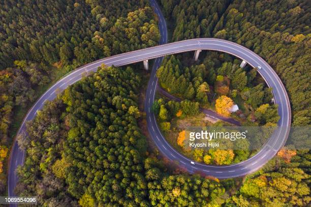 Drone view of curve road through Autumn forest on mountain