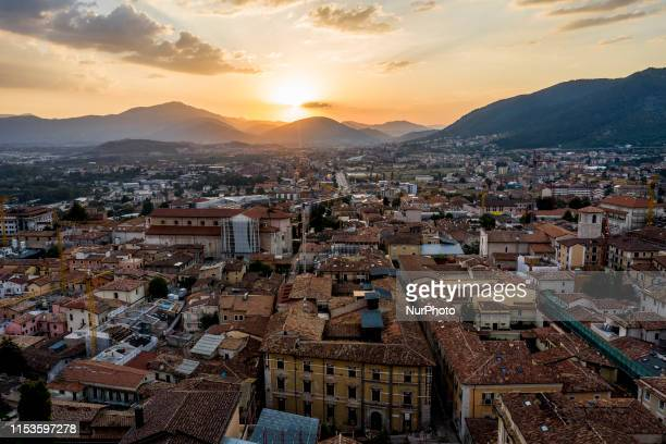 Drone view of downtown of L'Aquila during the sunset, on July 4, 2019. An earthquake of 5.8 on the Richter magnitude scale hit L'Aquila and...