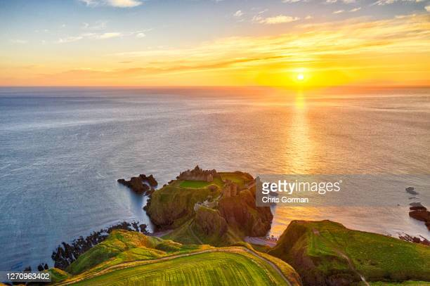 Drone view of Dunnottar Castle on October 18,2018 near Stonehaven, Scotland.