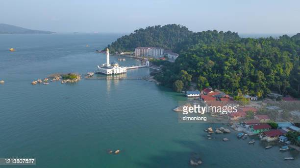 drone  view of floating mosque , malaysia - floating mosque stock pictures, royalty-free photos & images
