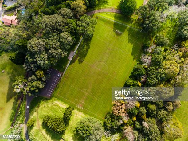 Drone view of football stadium, Auckland, New Zealand.