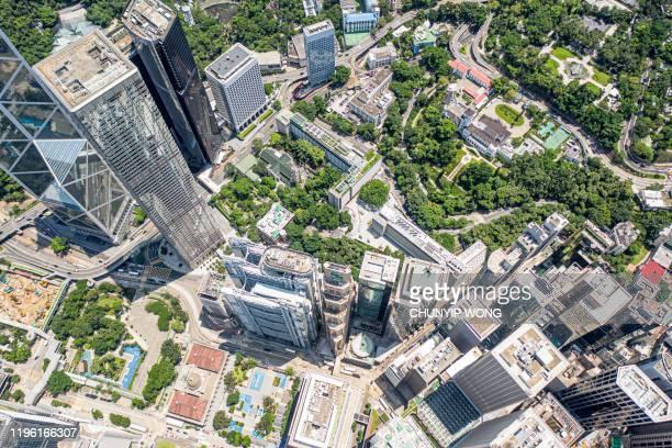 香港市のドローンビュー - スマートシティ ストックフォトと画像