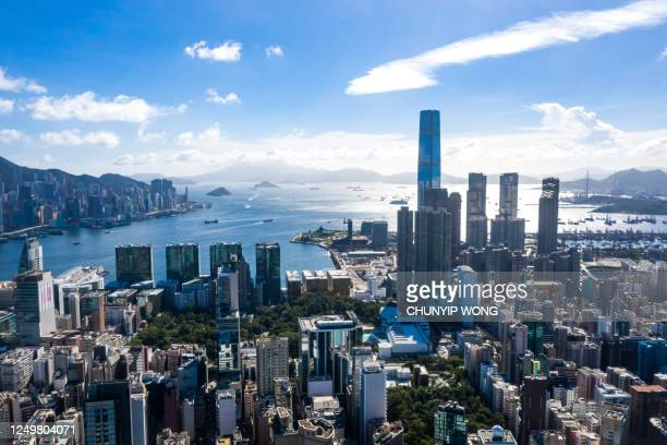 drone view of hong kong city - tsim sha tsui stock pictures, royalty-free photos & images
