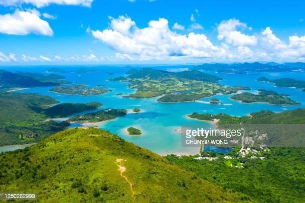 香港のシクン村の島のドローンビュー - ジオパーク ストックフォトと画像