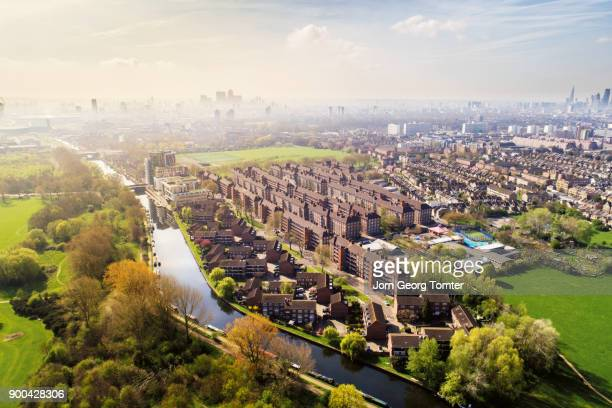 drone view of london shot at hackney marshes - canal stock pictures, royalty-free photos & images
