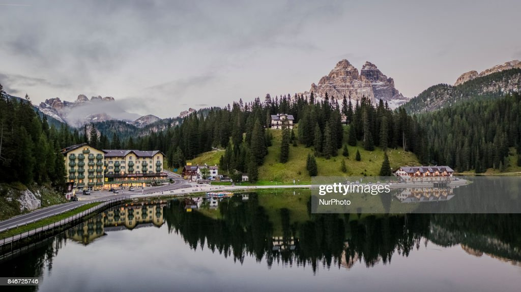 A drone view of Misurina Lake with the background the Tre Cime di Lavaredo (Three Peaks), in Misurina, Italy, on September 13, 2017. Lake Misurina is the largest natural lake of the Cadore and it is 1,754 m above sea level, near Auronzo di Cadore (Belluno).