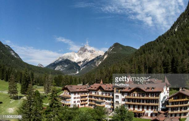 Drone view of Mt. Croda Rossa from Carbonin, on June 19, 2019. Cristallo is a mountain in the Italian Dolomites, northeast of Cortina d'Ampezzo, in...