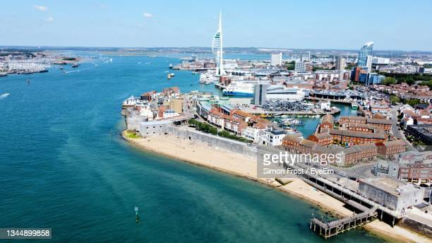 drone view of old portsmouth and the spinnaker tower - portsmouth england stock pictures, royalty-free photos & images