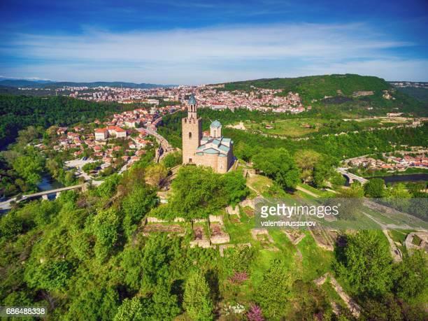 ドローンを見る古都ヴェリコ ・ タルノヴォの町