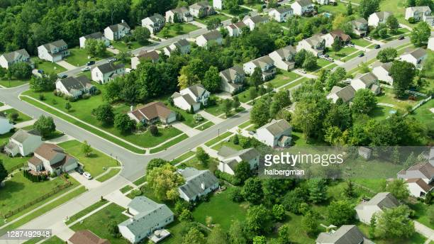 drone view of residential street in monroe, ohio - ohio stock pictures, royalty-free photos & images