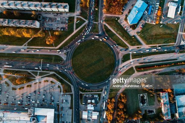 Drone View Of Road Amidst Buildings