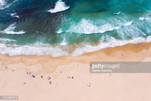 drone view of sandy beach and ocean, portugal - portuguese culture stock pictures, royalty-free photos & images
