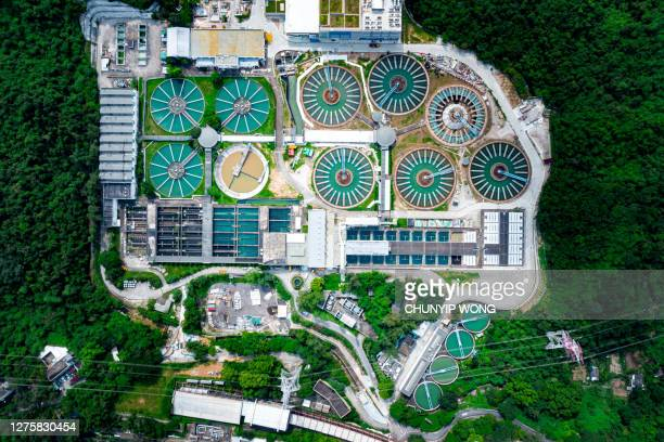 drone view of sha tin water treatment works - sewer stock pictures, royalty-free photos & images