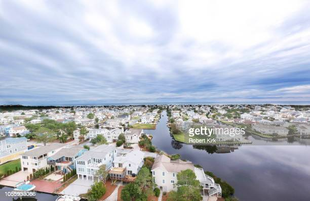 drone view of south bethany beach, delaware - bethany beach stock photos and pictures