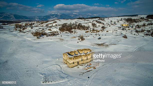 A drone view of submerged church quotSt Ivan Rilskiquot under heavy snow cover near the town of Tvardica east of the Bulgarian capital Sofia Friday...