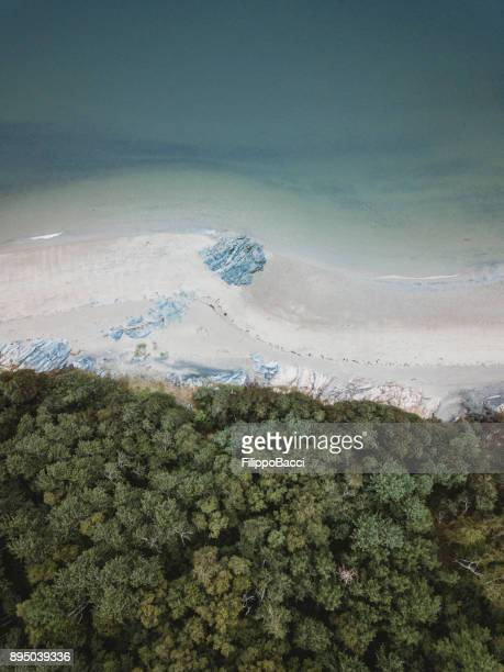 drone view of tadoussac over pointe rouge beach - river st lawrence stock pictures, royalty-free photos & images