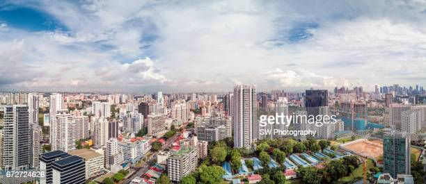Drone view of the city of Singapore