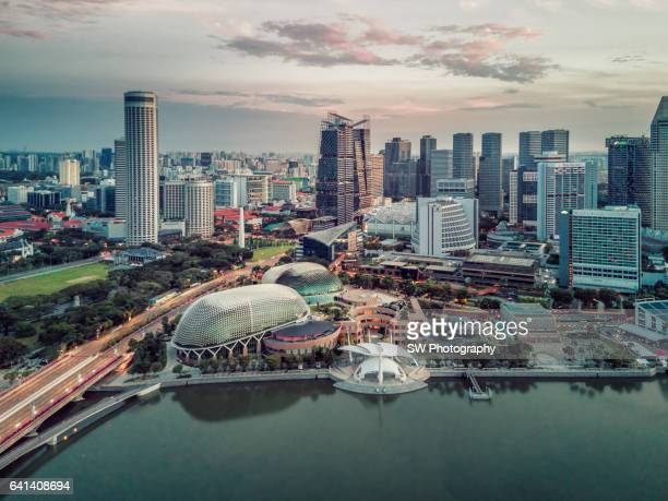 Drone view of the downtown area of Singapore