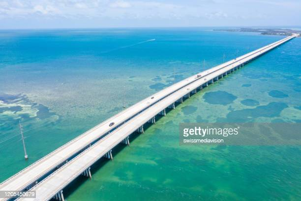 drone view of the florida keys, usa - seven mile bridge stock pictures, royalty-free photos & images