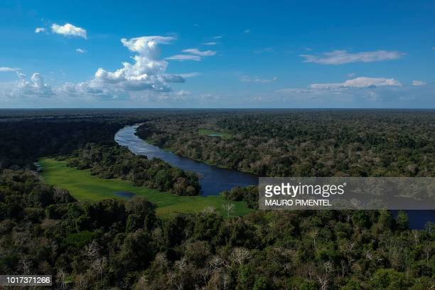 Drone view of the Jaraua river, at Mamiraua Sustainable Development Reserve in Amazonas state, Brazil, on June 28, 2018.