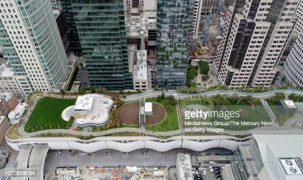 A drone view of the new Salesforce Transit Center and public park are seen in downtown San Francisco Calif on Wednesday Aug 8 2018 The grand opening...