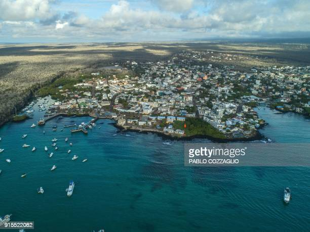 Drone view of the Puerto Ayora bay at Santa Cruz Island in Galapagos Ecuador on January 21 2018 Ecuador's growing tourism threatens the country's...