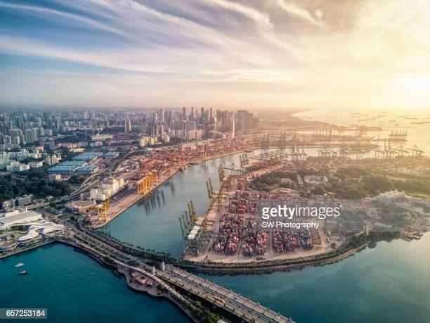 Drone view of the Pulau Brani island of Singapore
