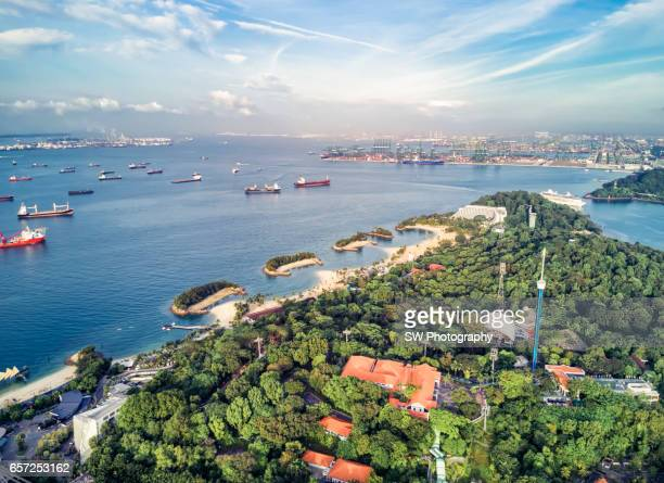 Drone view of the sentosa island of Singapore