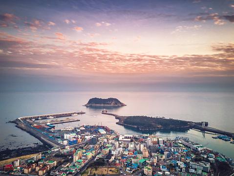 Drone view of the Seogwipo city on Jeju island, South Korea - gettyimageskorea