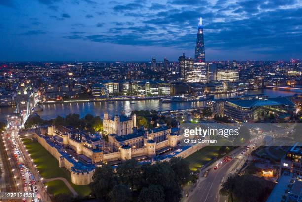 A drone view of the Tower of London at night on September 112020 in LondonEngland
