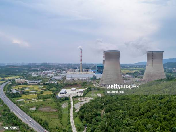 Drone view of thermal power station in jiangxi province,China