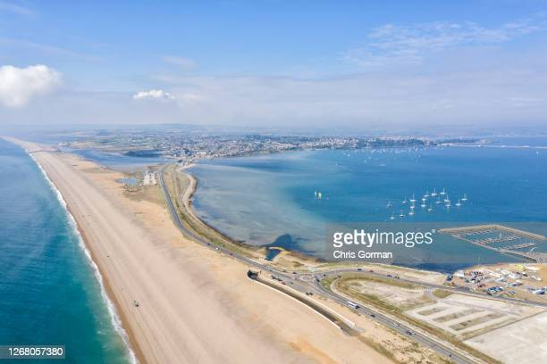 A drone view of Weymouth Portland and Chesil Beach on September 012018 in England