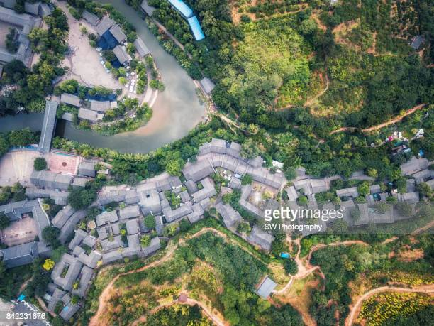 Drone view of Wu Feng Xi old town, Sichuan Province