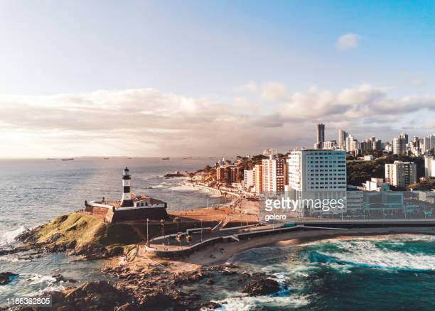 drone view on coastline and skyline of salvador da bahia - latin america stock pictures, royalty-free photos & images