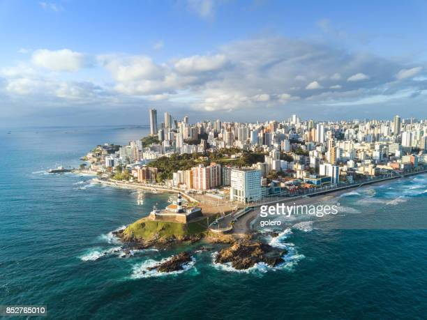 drone view on coastline and skyline of Salvador da Bahia