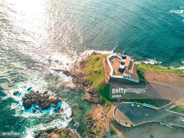 drone view on lighthouse of salvador da bahia - salvador bahia imagens e fotografias de stock