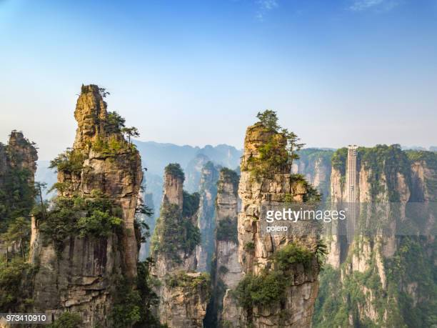 drone view over avatar mountains - hunan province stock pictures, royalty-free photos & images