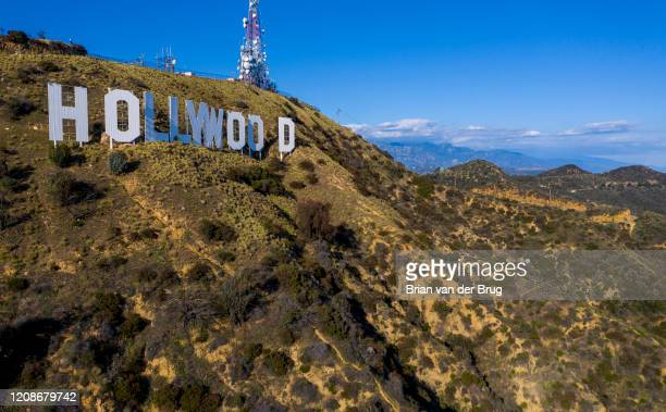 Drone view overlooking the Hollywood sign in Griffith Park in Los Angeles, Calif., on March 27, 2020.