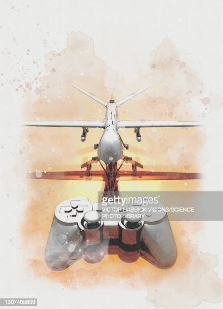 drone warfare, conceptual illustration - control stock pictures, royalty-free photos & images